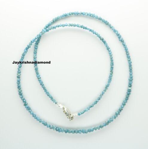 """15.01 ct Excellent Blue Color Loose Rough Diamonds 16"""" Necklace .Silver Clasp"""