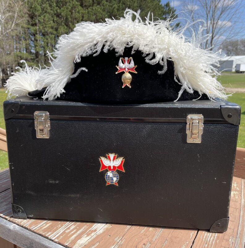 Vtg Knights Of Columbus White Feather Chapeau Hat Storage Box 4th Degree Symbol