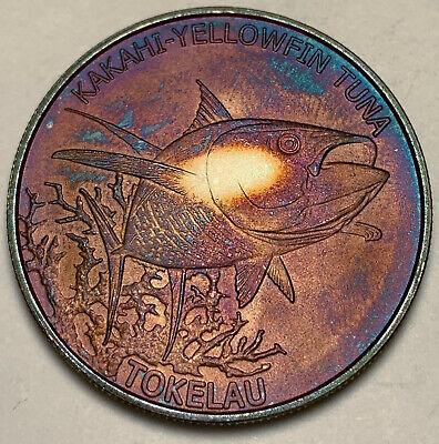 2014 TOKELAU 5 DOLLARS .999 SILVER YELLOWFIN TUNA ORANGE PURPLE COLOR TONED (DR)