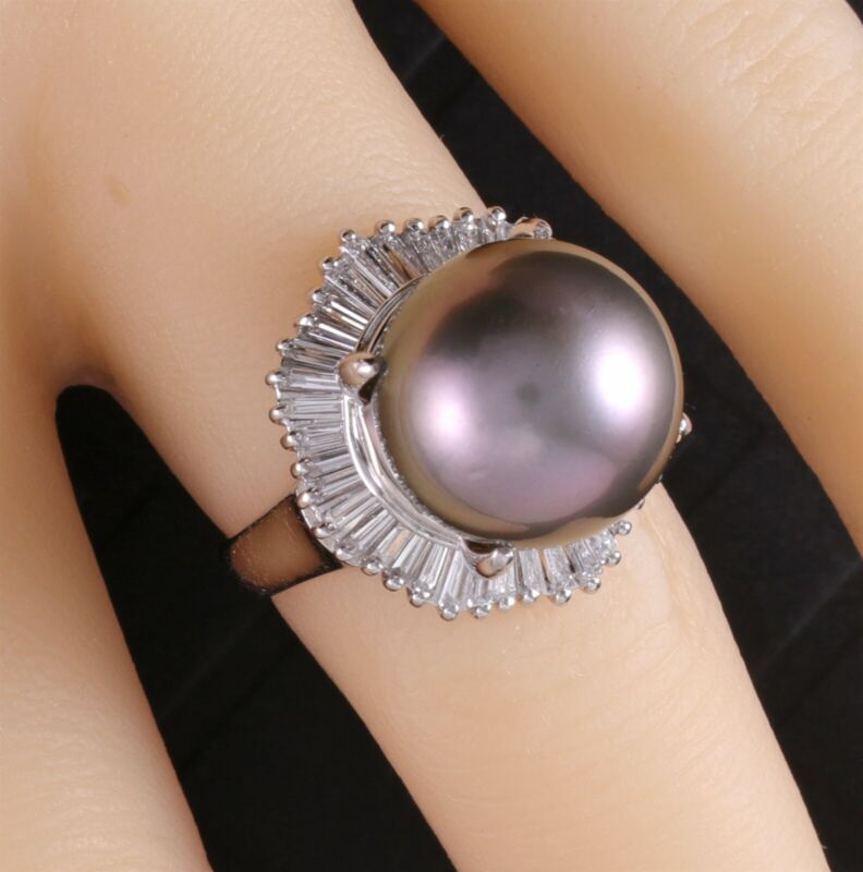 Platinum 1Ct. Diamond and 13mm Tahitian Black Pearl Estate Ring