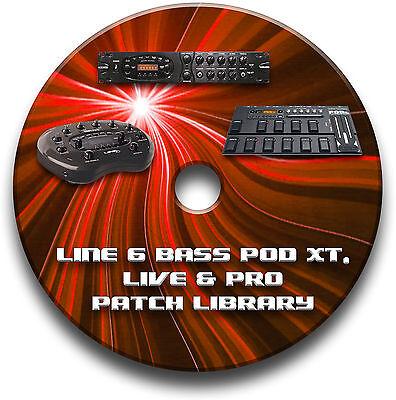 LINE 6 BASS POD XT, LIVE & PRO PRE-PROGRAMMED PATCHES CD OVER 470 - BASS EFFECTS