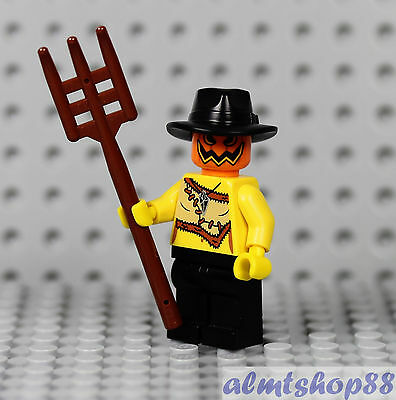LEGO - Halloween Scarecrow Minifigure - Pumpkin Head Pitchfork Zombie Monster IV