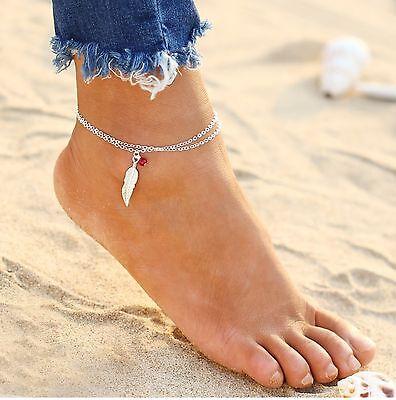 ☆ Silberne Fußkette | Feder | rote Perle Edel | 24-29cm | Silber Edelmetall ☆