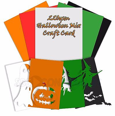 50 sheets of coloured card - Halloween Colours