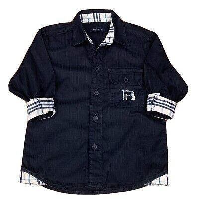 Burberry Auth Baby Boys Hutton Down Dress Shirt Black Check Blue Size 2