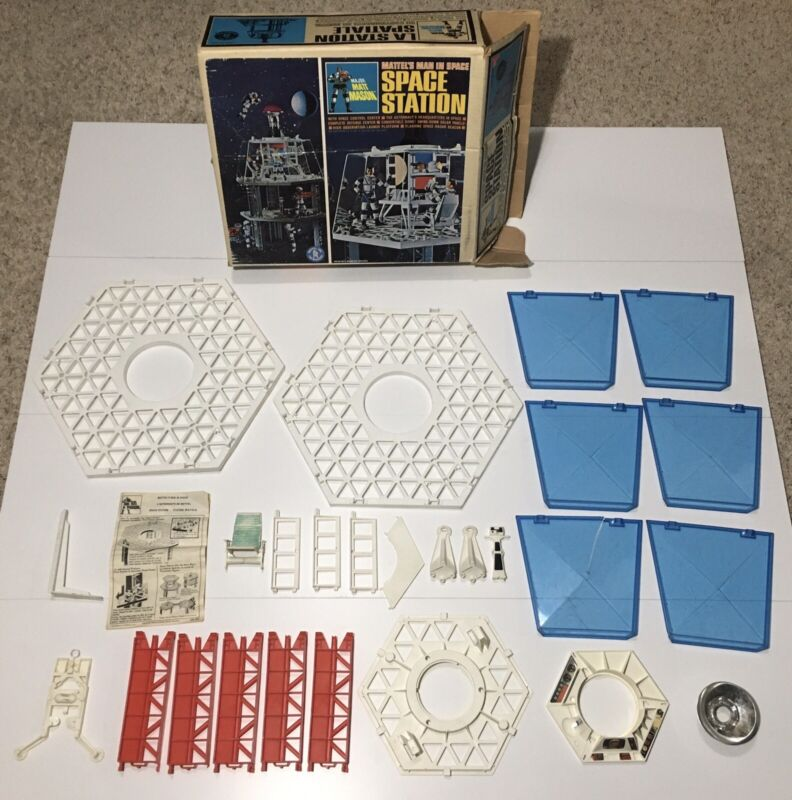 1966 Mattel Major Matt Mason Space Station With Box, Missing Pieces