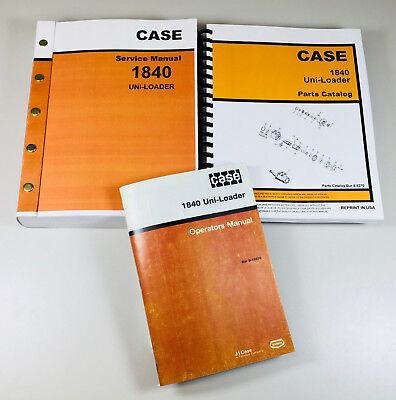 Case 1840 Uni-loader Skid Steer Service Parts Operator Manual Shop Book Overhaul