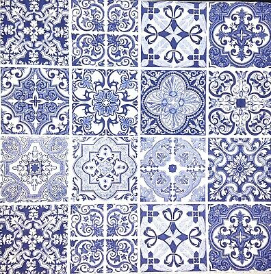 3x Single Paper Napkins For Decoupage Craft Tissue Blue Spanish Small Tiles M289