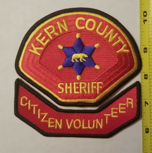 Kern County Sheriff CA Citizen Volunteer 2-Patch Set.  100% Embroidered