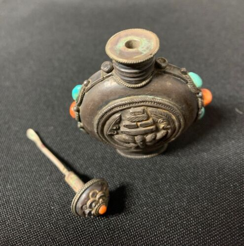 Antique Asian Silver Snuff Bottle w/ Turquoise and Coral inlay Origin unknown