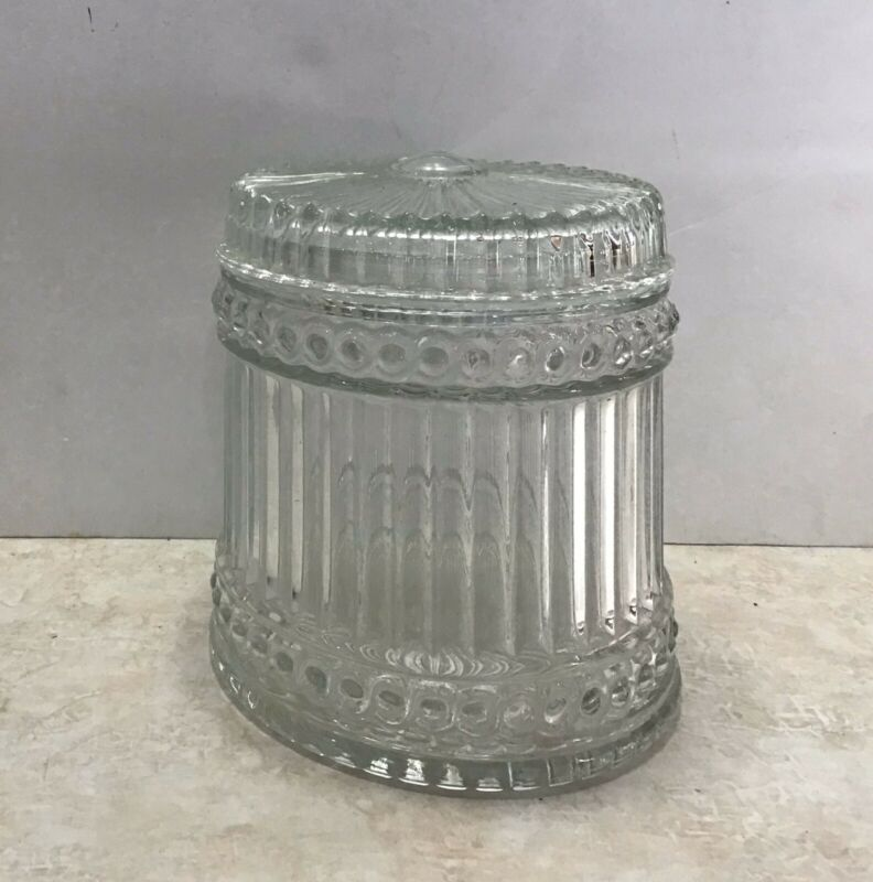 Clear Ribbed Glass Candy Dish With Lid Marked A 81