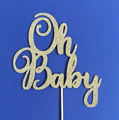 Oh Baby Glitter Cake Topper - Baby Shower Cake - Baby Sprinkle Topper  - Sprinkle Shower