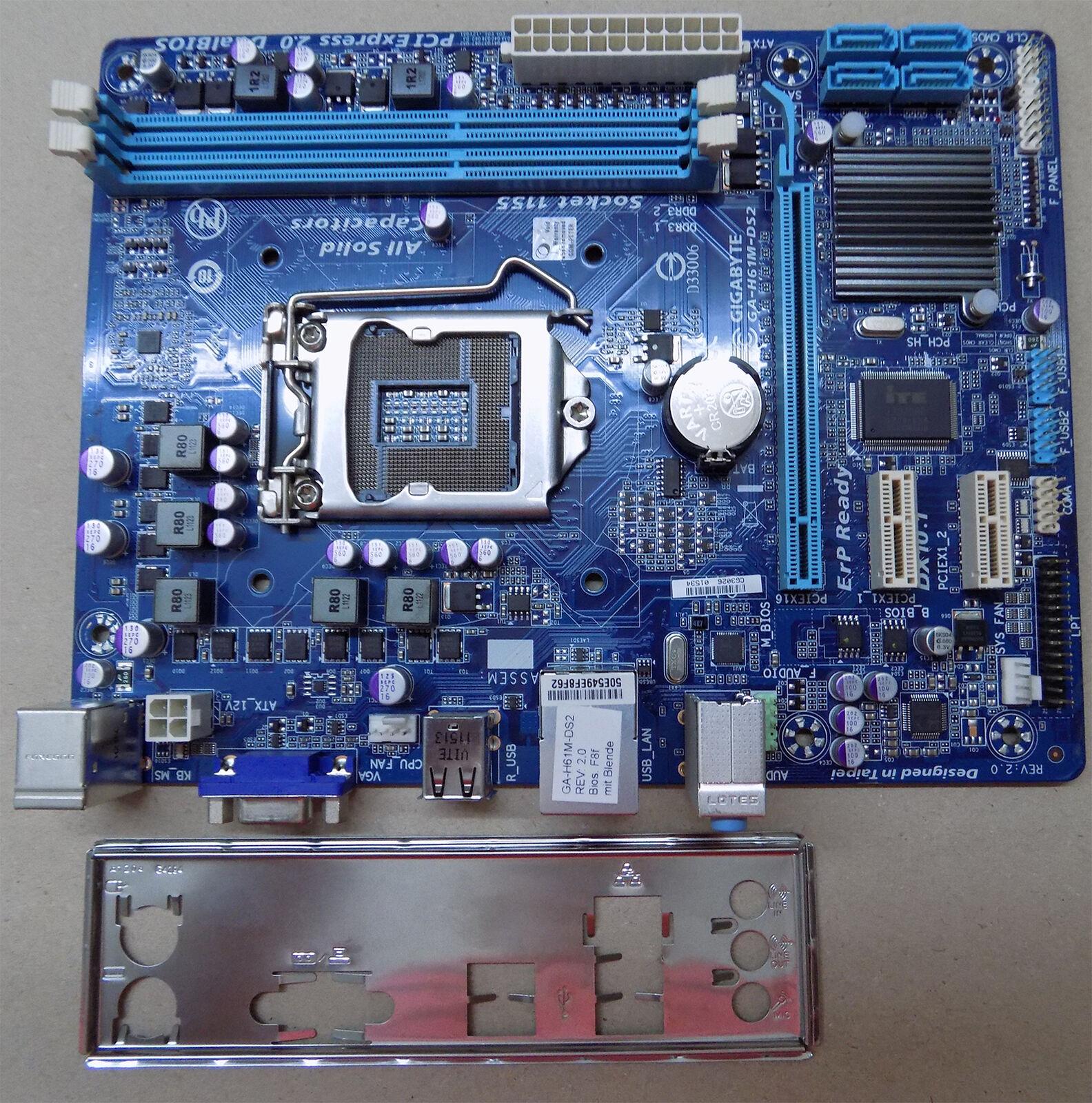 Mainboard GIGABYTE GA-H61M-DS2 Sockel 1155 DDR3 SATA USB mATX + Blende #A06