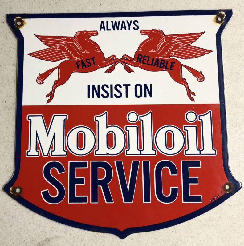 """VINTAGE DATED 1951 MOBILOIL SERVICE 12"""" PORCELAIN METAL GAS OIL SIGN!"""
