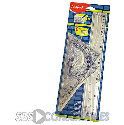 Maped Geometry Set 4 Piece 30cm Ruler Protractor Set Squares, Maths Exam 242767