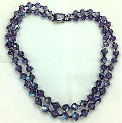 Vintage Purple Crystal Glass Necklace Estate Jewelry