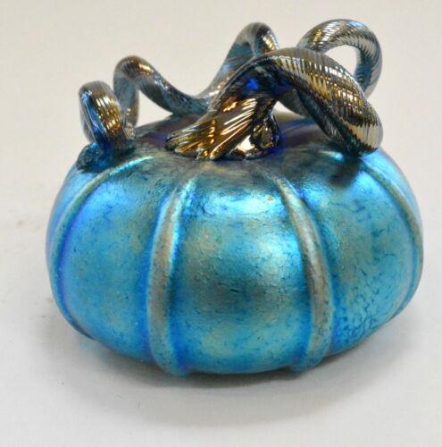 Iridescent Blue Pumpkin With Gold Design By Alcaraz Blown Glass
