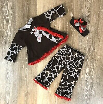 Rag-A-Muffin Kids Baby Infant Girl 3 Piece Outfit Pants Set Giraffe Brown Red 6M