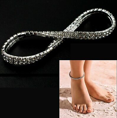 Women Ankle Bracelet Silver Anklet Foot Jewelry Girl's Beach Chain Diamond Anklets