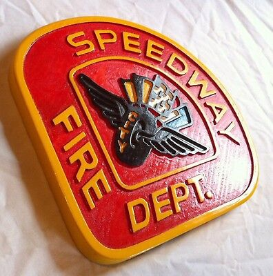 Speedway Fire Department 3D routed carved patch plaque sign Custom