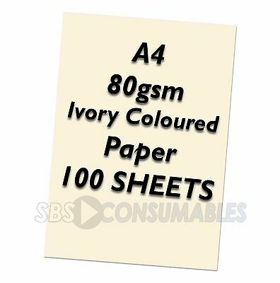 A4 80gsm Lasercol - Premium Ivory Coloured Craft Paper - 100 Sheets