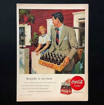 1949 Coca-Cola Advertisement Coke Soda Pop Hospitality Bottle Case Vtg Print AD