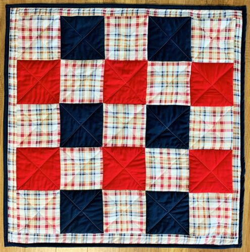 Baby Quilt Handmade Red Blue Plaid Patchwork Boys Crib Blanket New