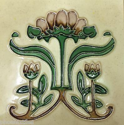 10 Fabulous Art Nouveau Mission Fireplace Tiles Majolica Tubelined Perfect NR
