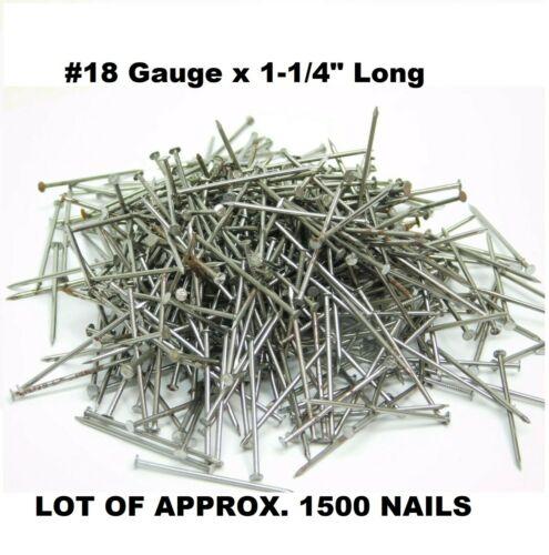"""1500 APROX - WIRE BOX NAILS #18 x 1-1/4"""" LONG PLAIN STEEL 7/64"""" HEAD DIAMETER ES"""