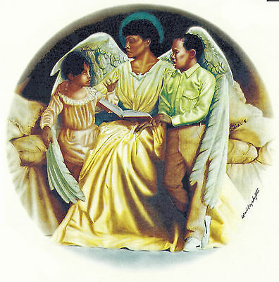 Ceramic Decals African American Teaching Angel Children Book