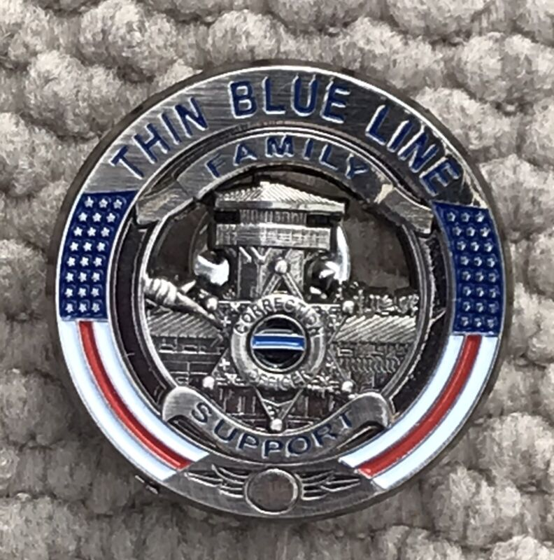 """Corrections Thin Blue Line Family Support Pin Blue Lives Matter 1 1/4"""""""