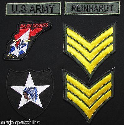 JOHN LENNON ARMY BEATLES KOREA WAR UNIFORM JACKET IMJIN SCOUTS IRON ON PATCH SET