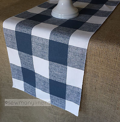Navy Blue Plaid Table Runner Buffalo Check Country Dining Room Home Decor Linens - Navy Blue Home Decor