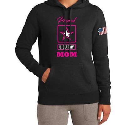 Proud U.S. Army Mom With Flag Womens Hooded Sweatshirt AMERICA FAMILY UNCLE SAM