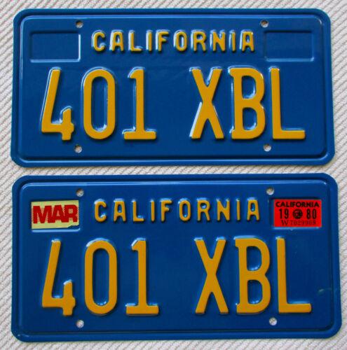California (blue base) License Plate Pair, DMV CLEAR, #401 XBL