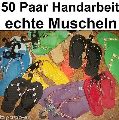 50x BADELATSCHEN SANDALEN Muscheln Pailletten Damen Kinder Konkursware Posten