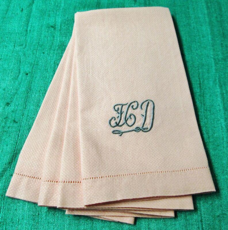 Antique 4 Pink Nubby Linen Towels F C D Monogram Hemstitched Trousseau
