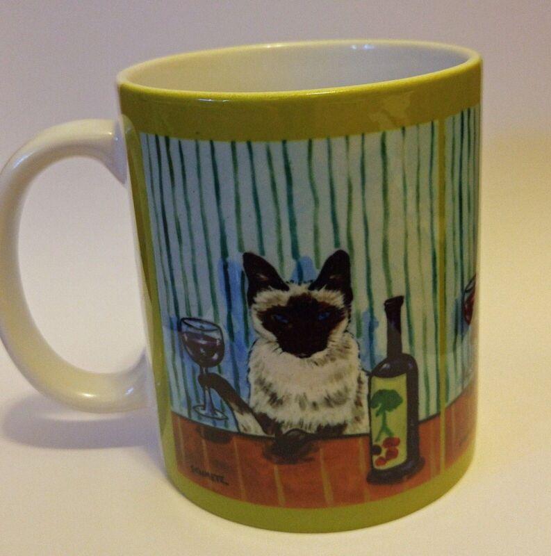 SIAMESE AT THE WINE BAR CAT ART MUG 11 OZ gift artwork