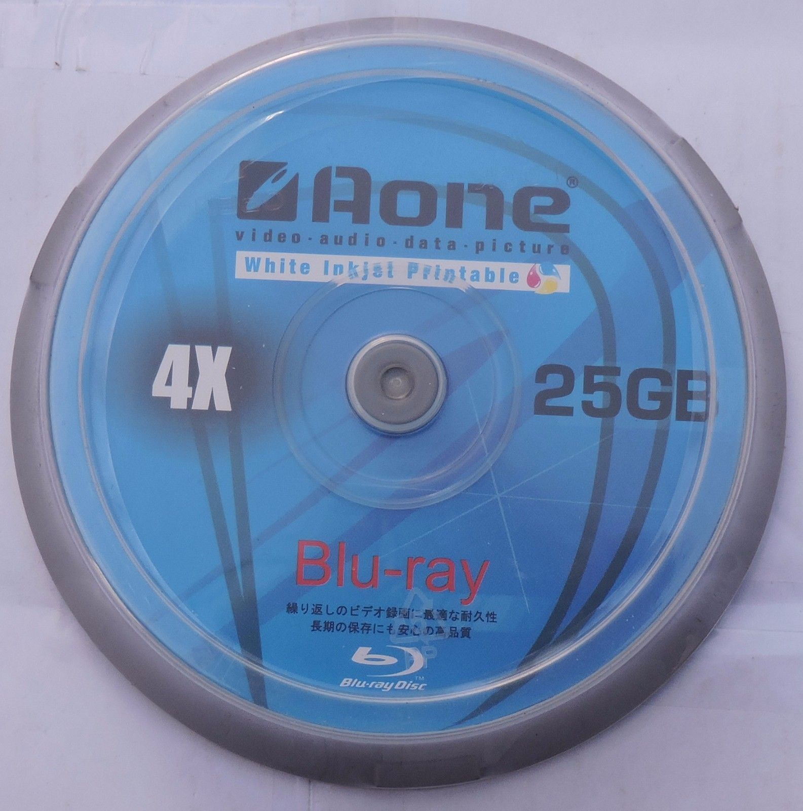 50 x Aone Blu Ray Blank Discs Full Face White Printable 25GB BD-R