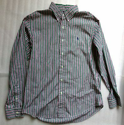 Ralph Lauren Button Up Down Custom Fit Red Green Blue White Shirt Size Large L