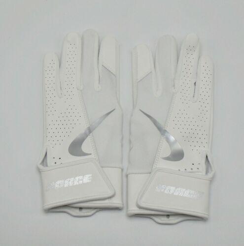 Nike Force Edge Batting Gloves Youth Large White/Chrome