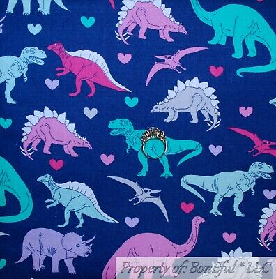 BonEful Fabric FQ Cotton Quilt VTG Blue Purple Aqua Green Dinosaur Dino Girl Boy