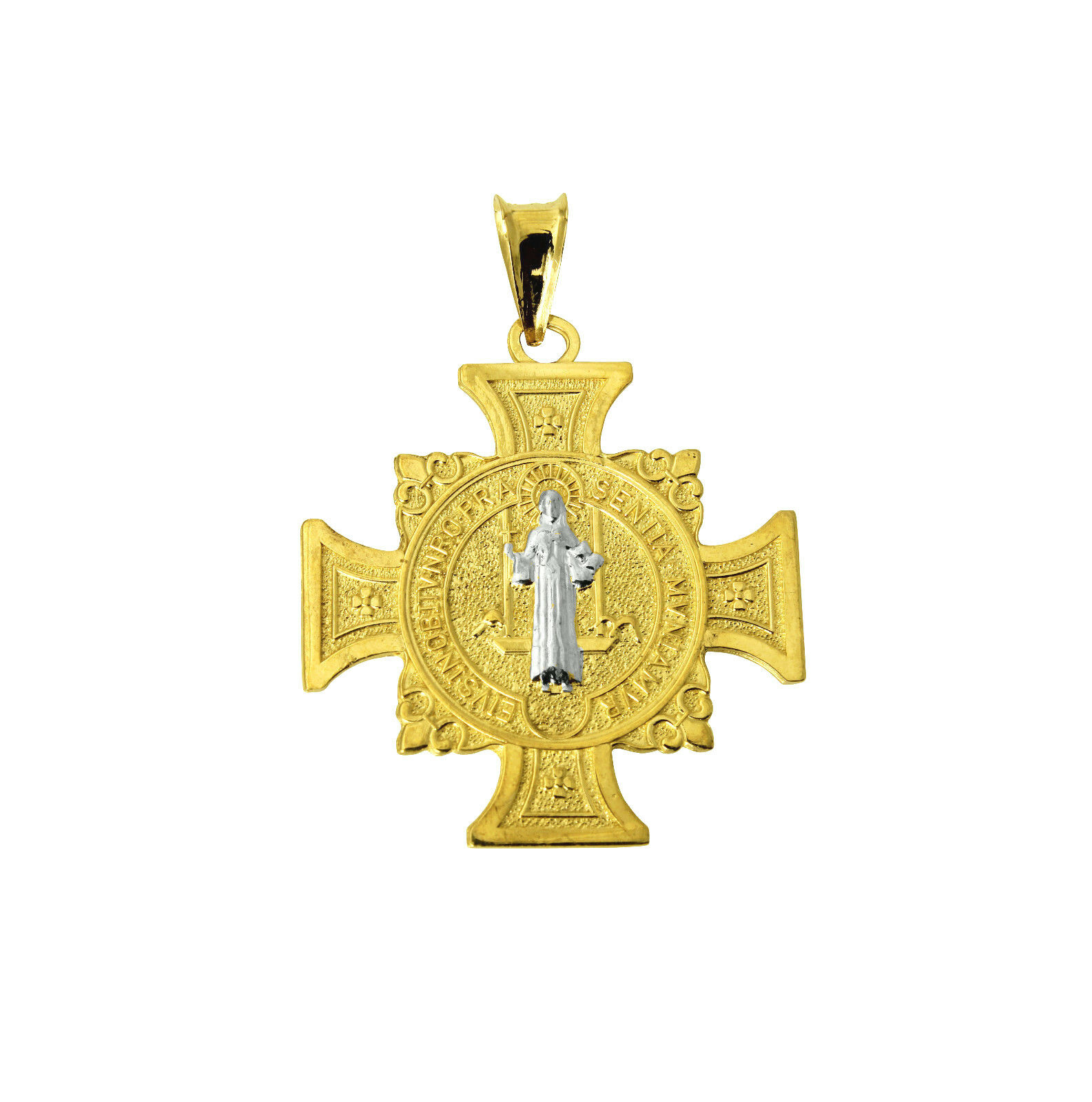 K solid yellow gold cross saint benedict religious charm