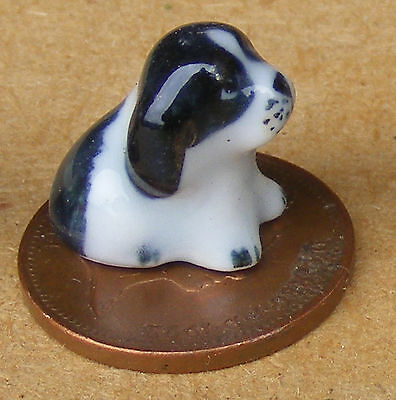 1:12 Scale Small Black & White Ceramic Puppy Dog Ornament Tumdee Dolls House B
