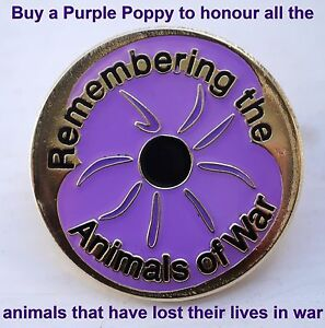 'REMEMBERING THE ANIMALS OF WAR' Purple Poppy Enamel Lapel / Pin Badge (Worded)