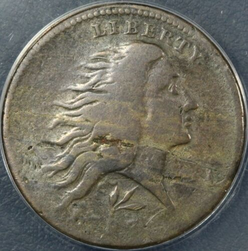 1793 S-11C Lettered Edge Flowing Hair Wreath Cent ANACS VG 08 - Obv Lamination