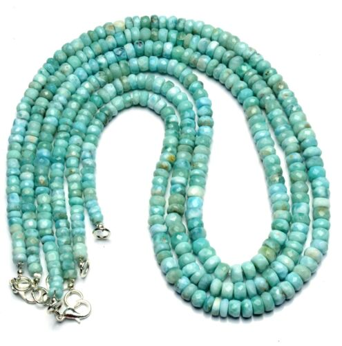 """Natural Rare Gem Larimar 5 to 6.5MM Size Faceted Rondelle Beads Necklace 17.5"""""""
