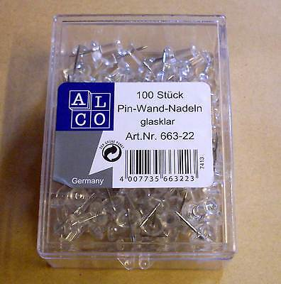 Pinnadeln Pinnwandnadeln Stecker 100 Stück glasklar transparent weiss Neu OVP