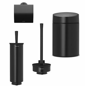 brabantia set matte black toilet brush toilet roll holder make up wall holder. Black Bedroom Furniture Sets. Home Design Ideas