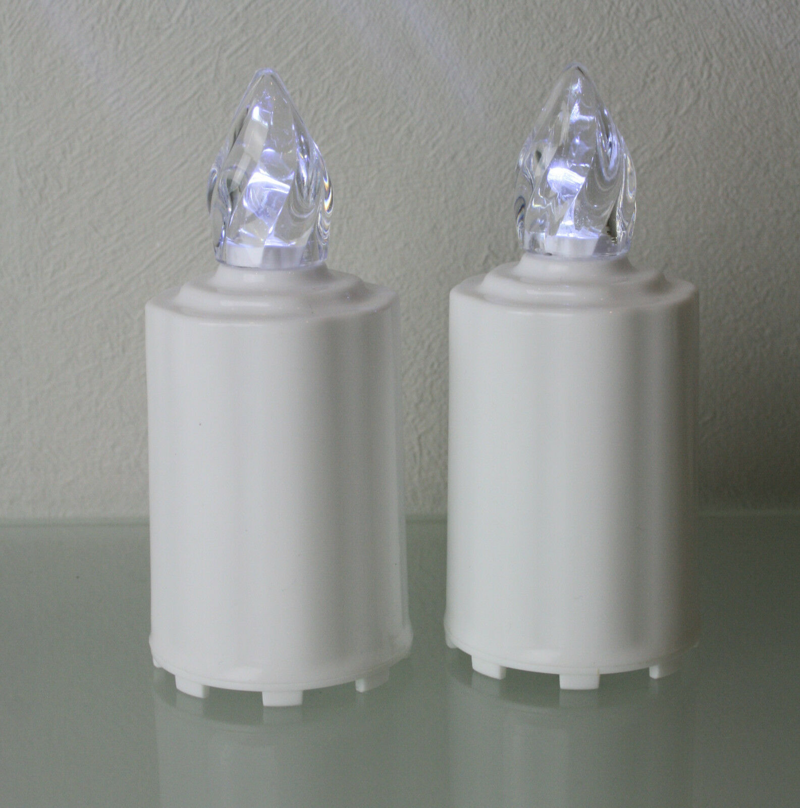2 LED Elektro Grablicht Kerzen Weiss Grablampe Grabschmuck Batterien Grablichter